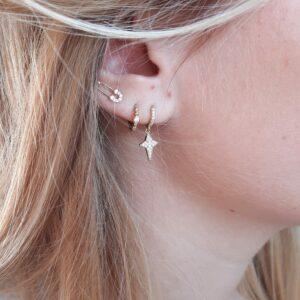 Boucles d'oreilles Star mini créole